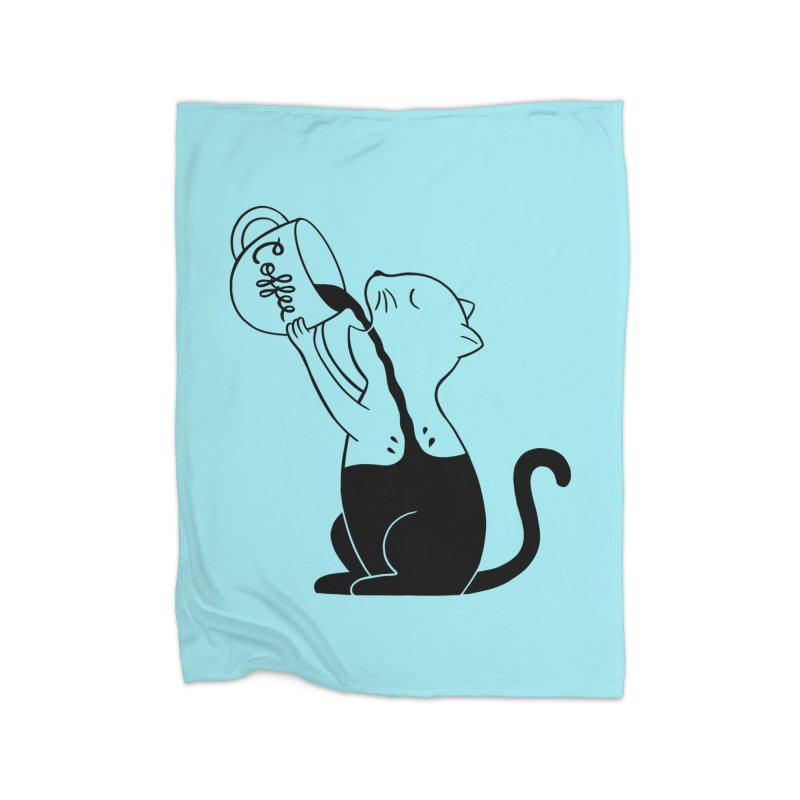 Cat Home Fleece Blanket Blanket by coffeeman's Artist Shop