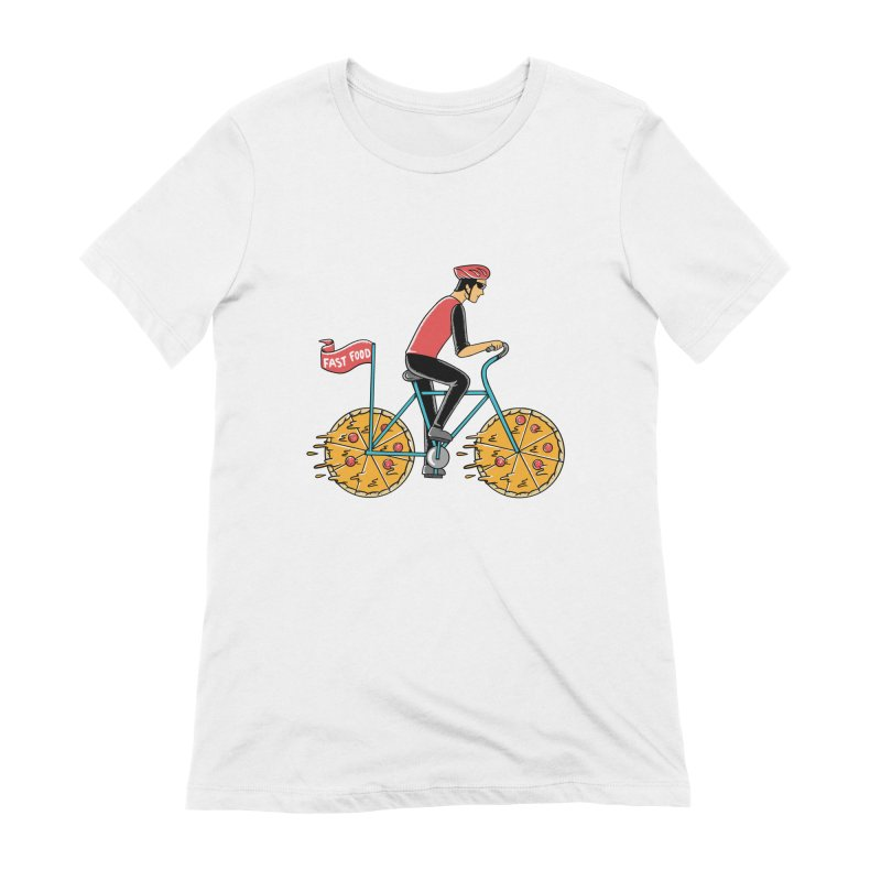 Pizza Bicycle Women's Extra Soft T-Shirt by coffeeman's Artist Shop