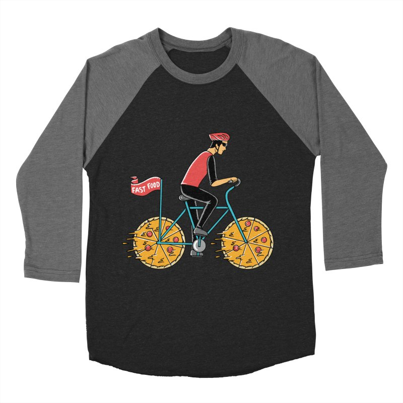 Pizza Bicycle Men's Baseball Triblend Longsleeve T-Shirt by coffeeman's Artist Shop