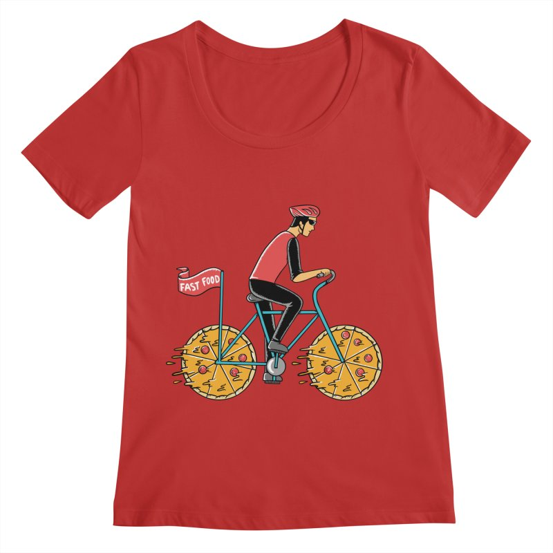 Pizza Bicycle Women's Regular Scoop Neck by coffeeman's Artist Shop