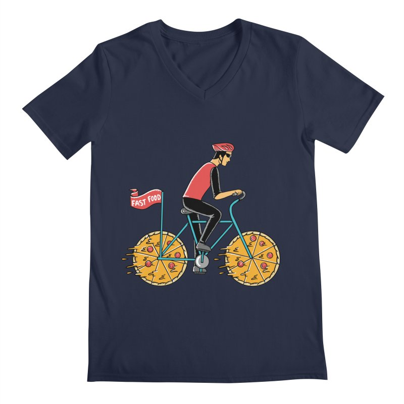 Pizza Bicycle Men's Regular V-Neck by coffeeman's Artist Shop