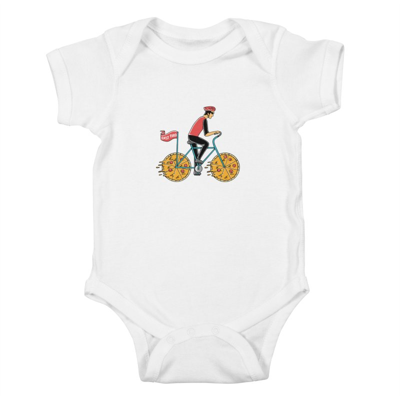 Pizza Bicycle Kids Baby Bodysuit by coffeeman's Artist Shop