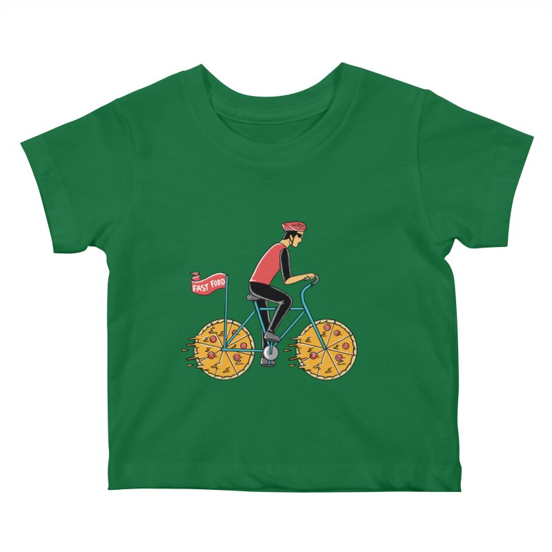Pizza Bicycle Kids Baby T-Shirt by coffeeman's Artist Shop