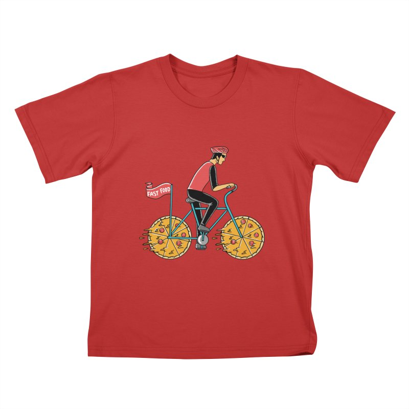 Pizza Bicycle Kids T-Shirt by coffeeman's Artist Shop