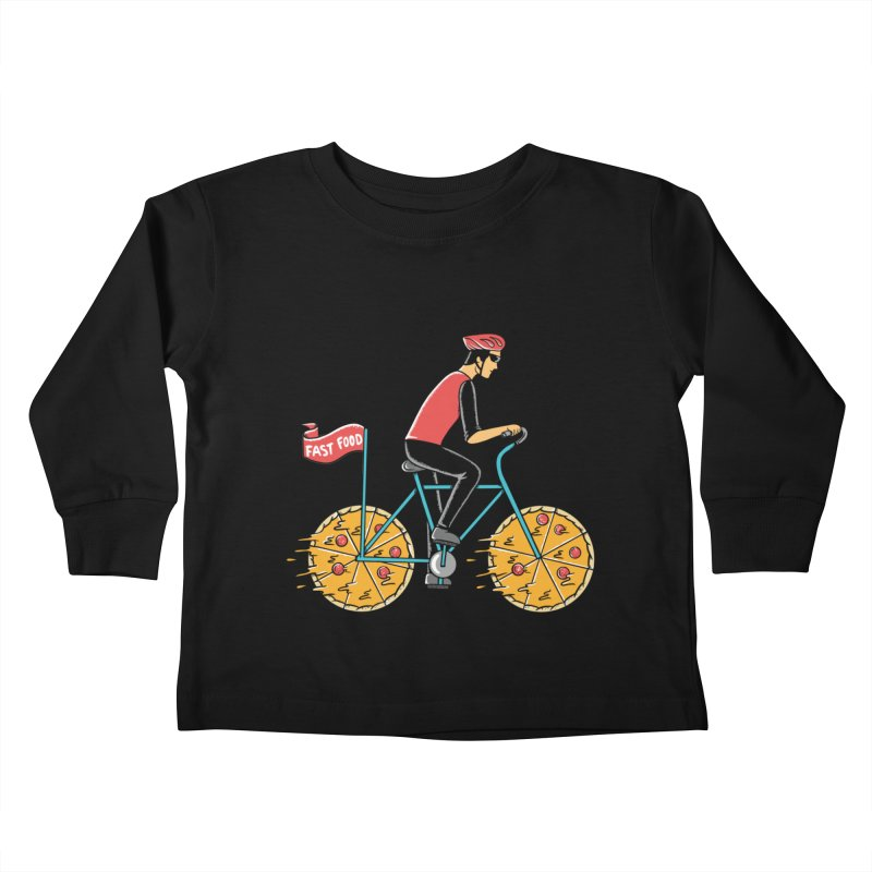 Pizza Bicycle Kids Toddler Longsleeve T-Shirt by coffeeman's Artist Shop