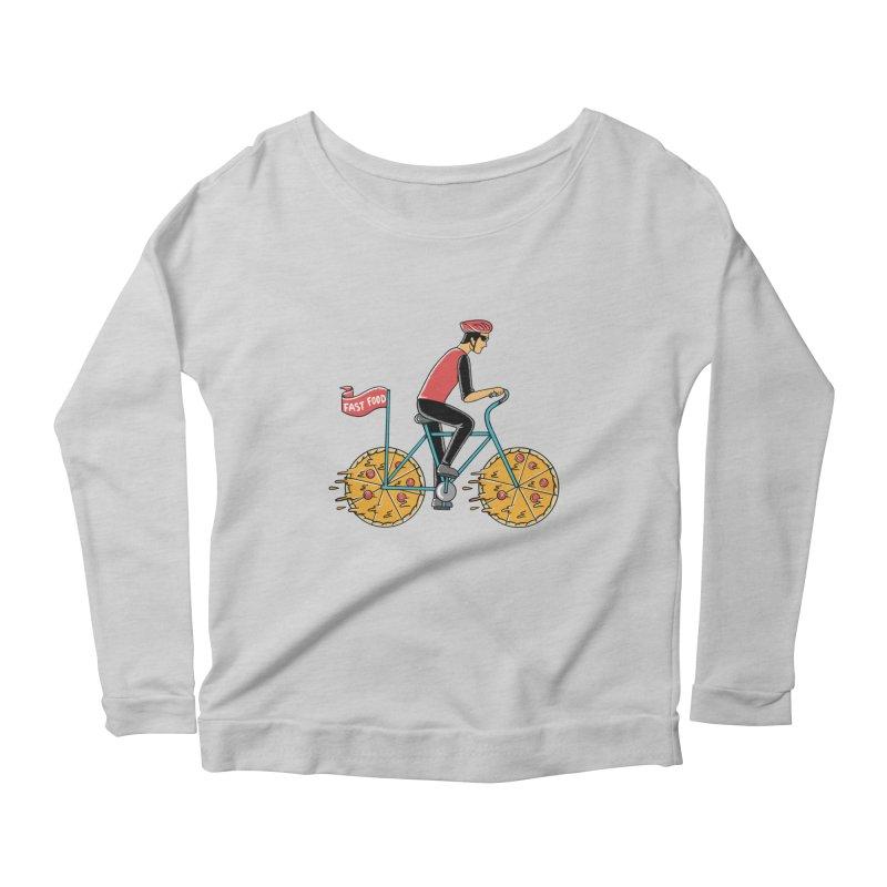 Pizza Bicycle Women's Scoop Neck Longsleeve T-Shirt by coffeeman's Artist Shop