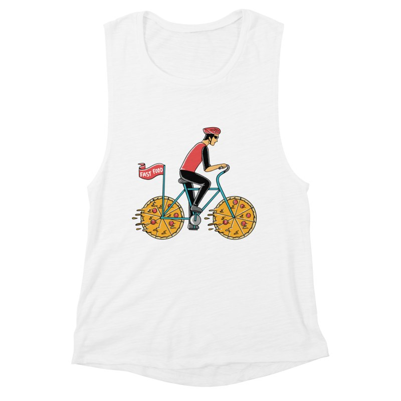 Pizza Bicycle Women's Muscle Tank by coffeeman's Artist Shop