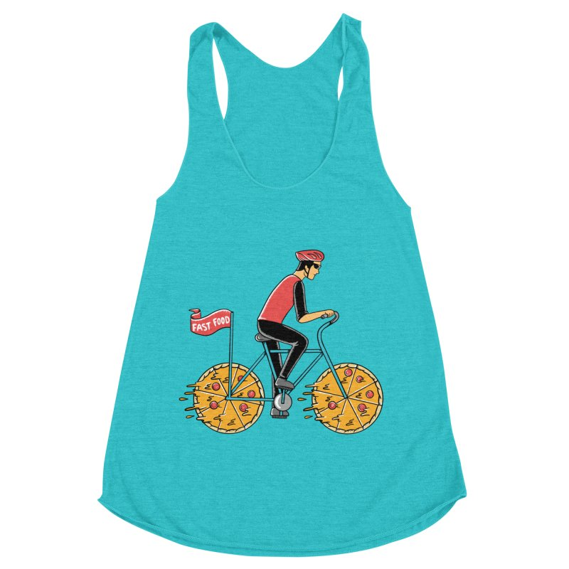 Pizza Bicycle Women's Racerback Triblend Tank by coffeeman's Artist Shop