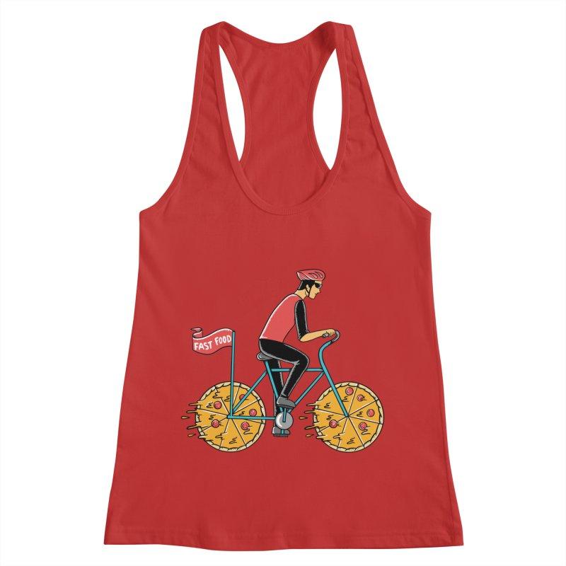 Pizza Bicycle Women's Racerback Tank by coffeeman's Artist Shop