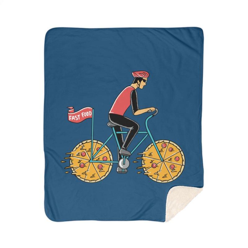 Pizza Bicycle Home Sherpa Blanket Blanket by coffeeman's Artist Shop