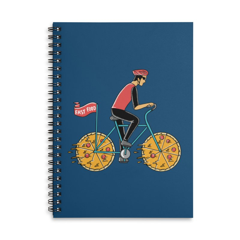Pizza Bicycle Accessories Lined Spiral Notebook by coffeeman's Artist Shop