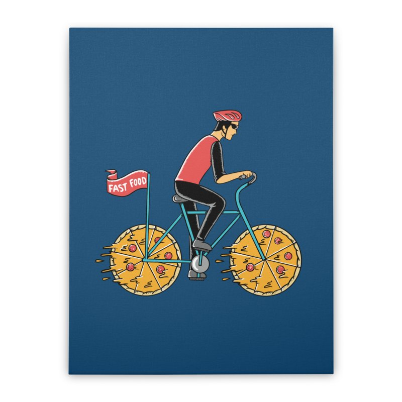 Pizza Bicycle Home Stretched Canvas by coffeeman's Artist Shop