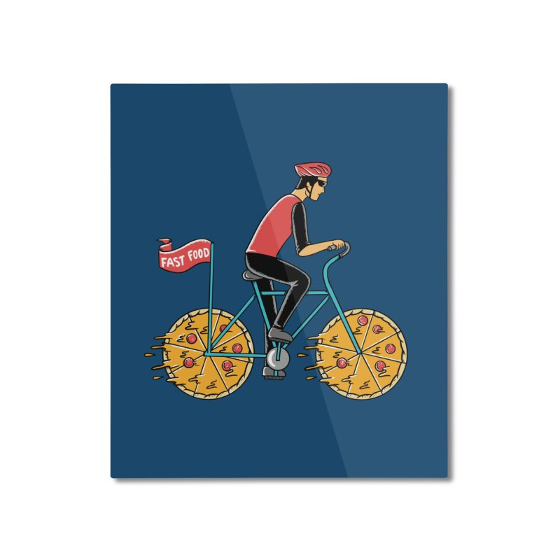 Pizza Bicycle Home Mounted Aluminum Print by coffeeman's Artist Shop