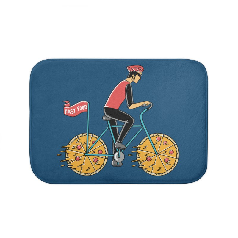 Pizza Bicycle Home Bath Mat by coffeeman's Artist Shop