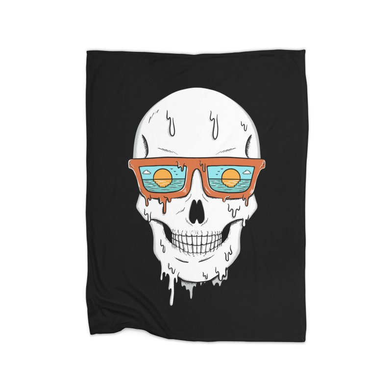 Skull Home Fleece Blanket Blanket by coffeeman's Artist Shop