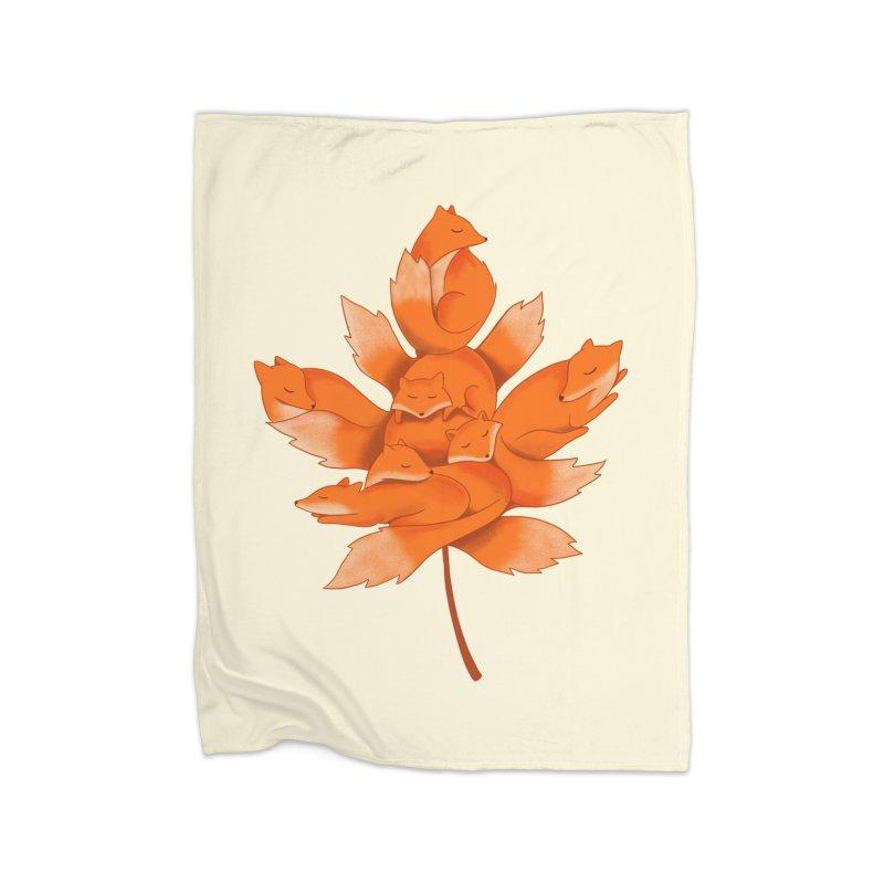 Fox Home Fleece Blanket Blanket by coffeeman's Artist Shop