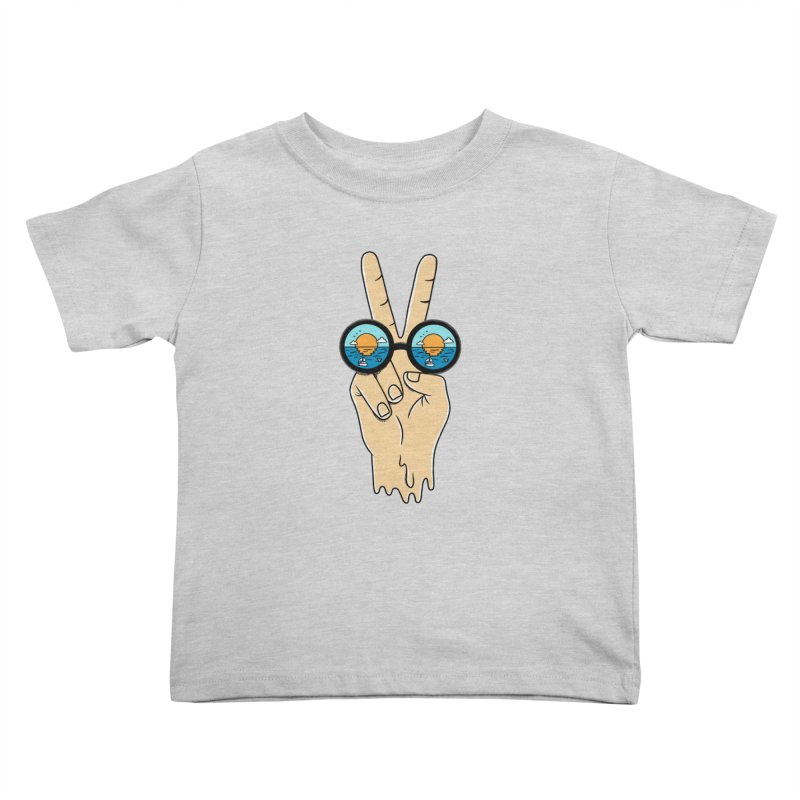 Beach peace and love Kids Toddler T-Shirt by coffeeman's Artist Shop