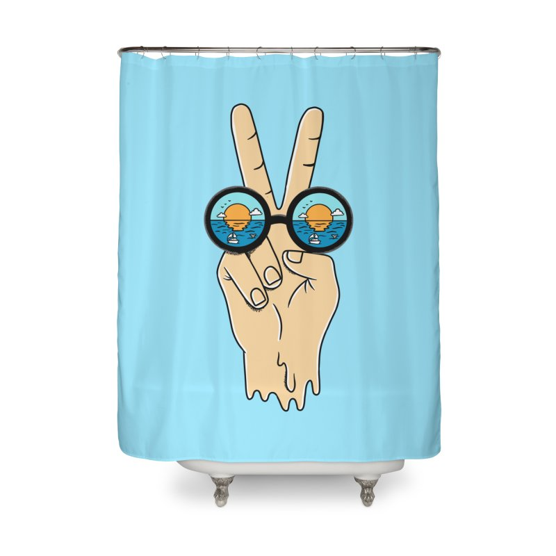Beach peace and love Home Shower Curtain by coffeeman's Artist Shop