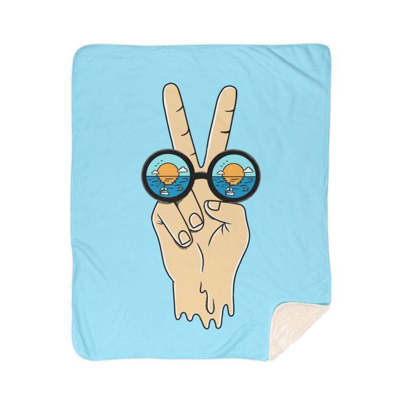 Beach peace and love Home Sherpa Blanket Blanket by coffeeman's Artist Shop