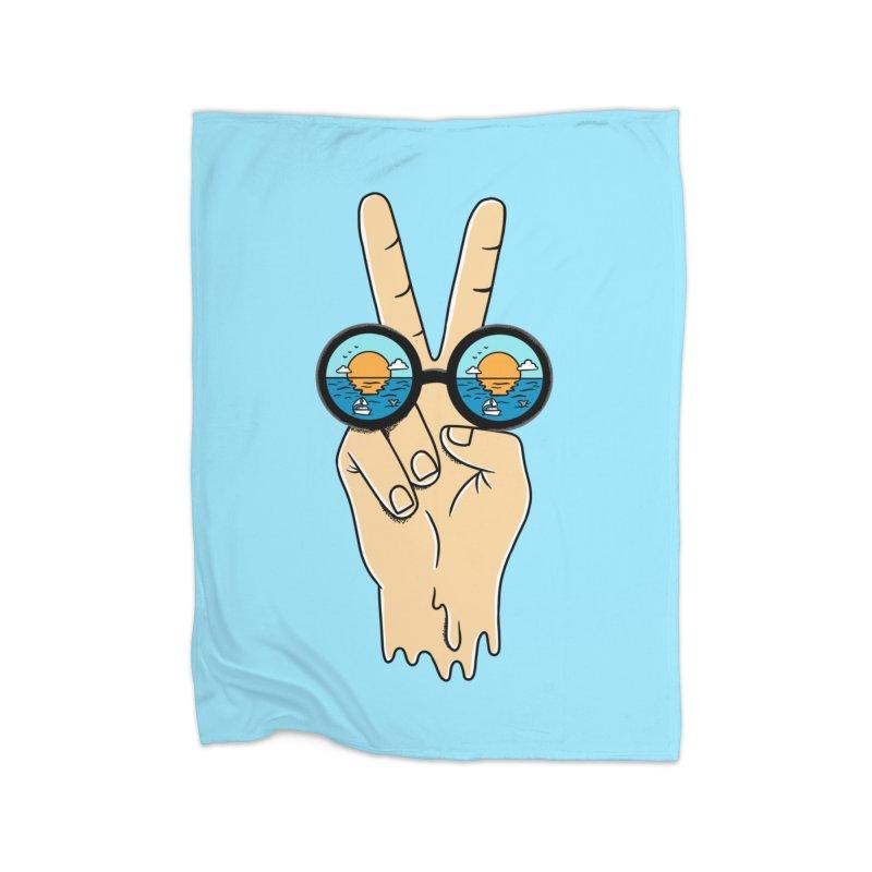 Beach peace and love Home Fleece Blanket Blanket by coffeeman's Artist Shop