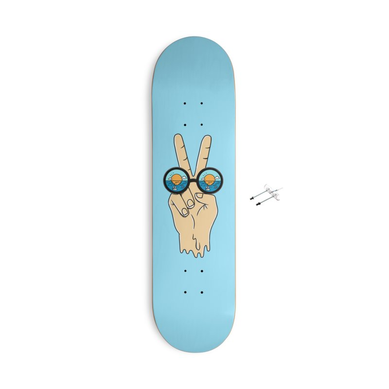Beach peace and love Accessories With Hanging Hardware Skateboard by coffeeman's Artist Shop