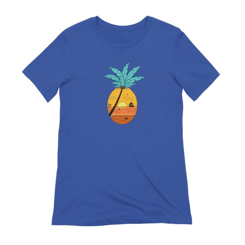 Pineapple summer sunset Women's Extra Soft T-Shirt by coffeeman's Artist Shop