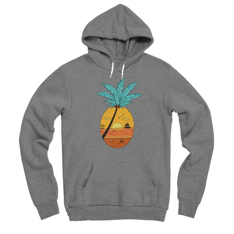 Pineapple summer sunset Men's Sponge Fleece Pullover Hoody by coffeeman's Artist Shop