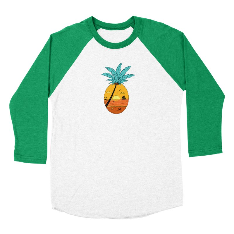 Pineapple summer sunset Women's Baseball Triblend Longsleeve T-Shirt by coffeeman's Artist Shop