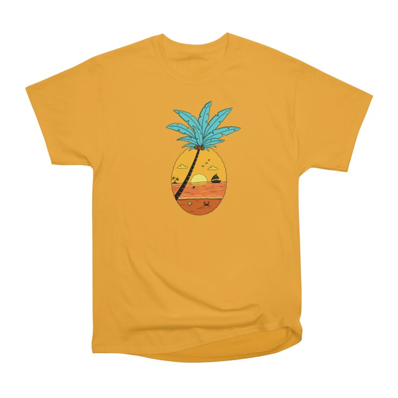 Pineapple summer sunset Women's Heavyweight Unisex T-Shirt by coffeeman's Artist Shop