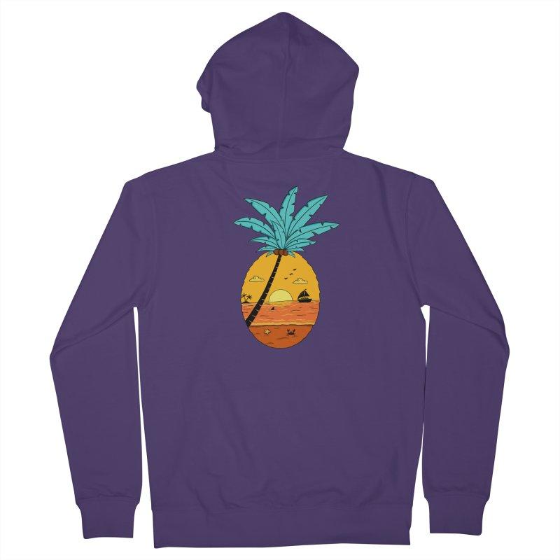Pineapple summer sunset Women's French Terry Zip-Up Hoody by coffeeman's Artist Shop