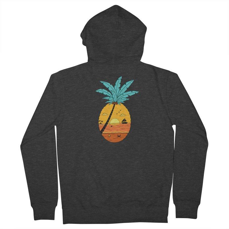 Pineapple summer sunset Men's French Terry Zip-Up Hoody by coffeeman's Artist Shop