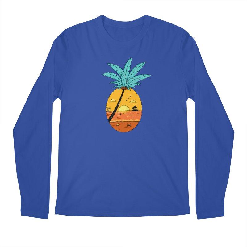 Pineapple summer sunset Men's Regular Longsleeve T-Shirt by coffeeman's Artist Shop