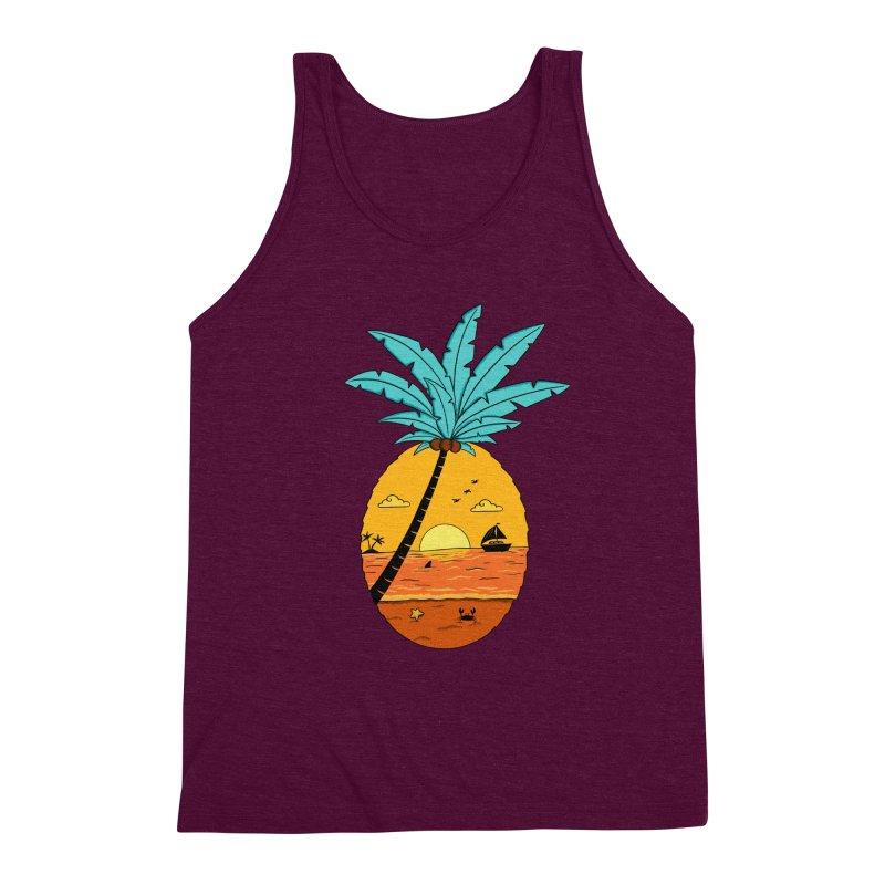 Pineapple summer sunset Men's Triblend Tank by coffeeman's Artist Shop