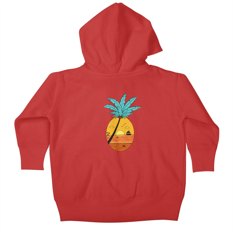 Pineapple summer sunset Kids Baby Zip-Up Hoody by coffeeman's Artist Shop