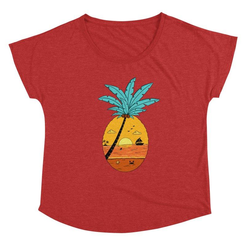 Pineapple summer sunset Women's Dolman Scoop Neck by coffeeman's Artist Shop