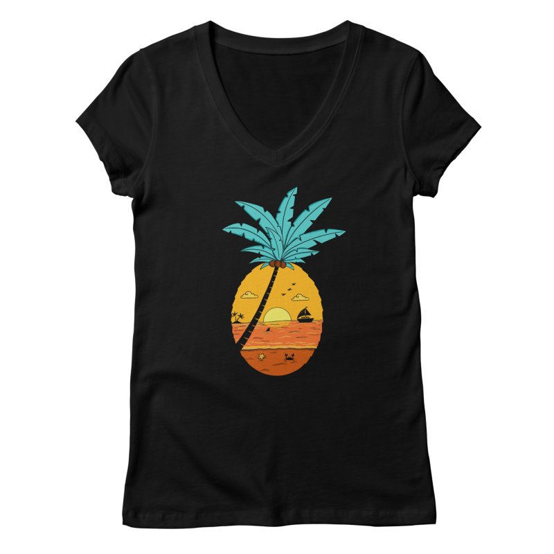 Pineapple summer sunset Women's V-Neck by coffeeman's Artist Shop