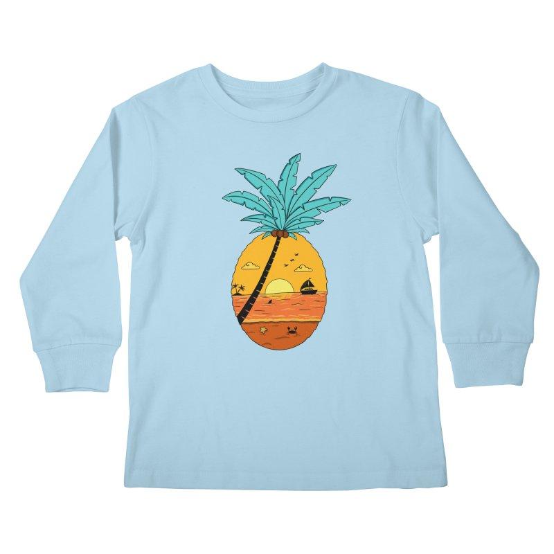 Pineapple summer sunset Kids Longsleeve T-Shirt by coffeeman's Artist Shop