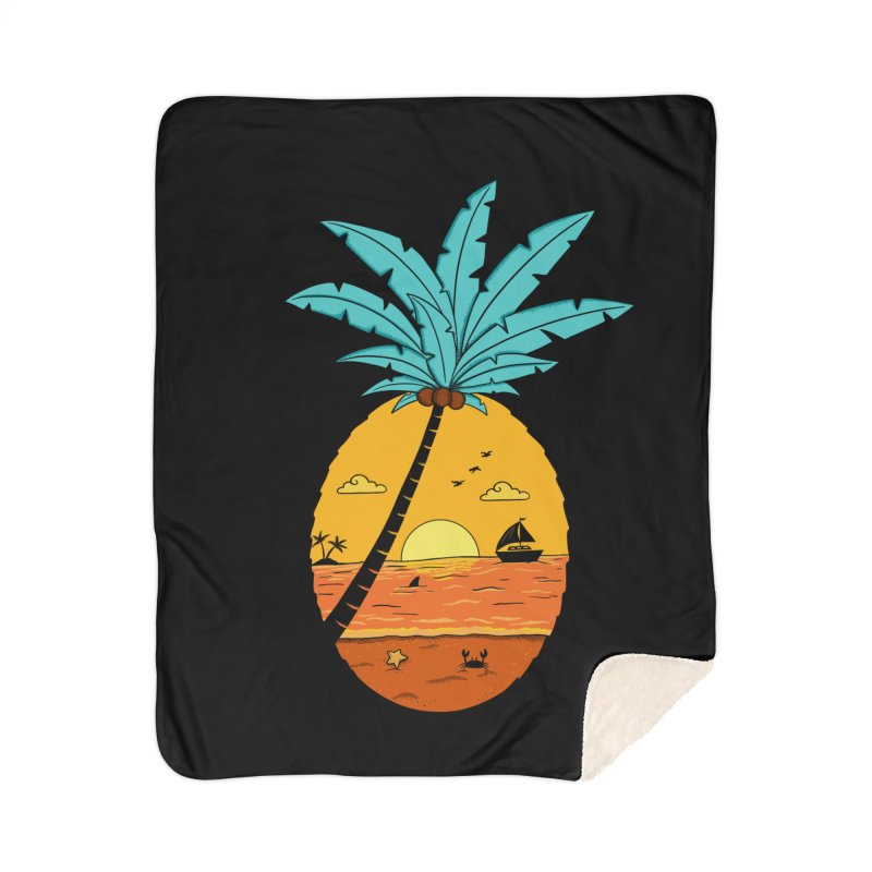 Pineapple summer sunset Home Sherpa Blanket Blanket by coffeeman's Artist Shop