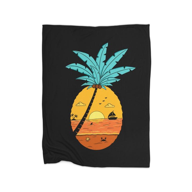 Pineapple summer sunset Home Fleece Blanket Blanket by coffeeman's Artist Shop