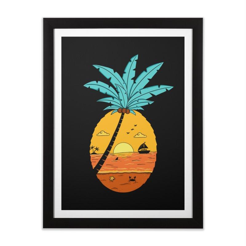 Pineapple summer sunset Home Framed Fine Art Print by coffeeman's Artist Shop
