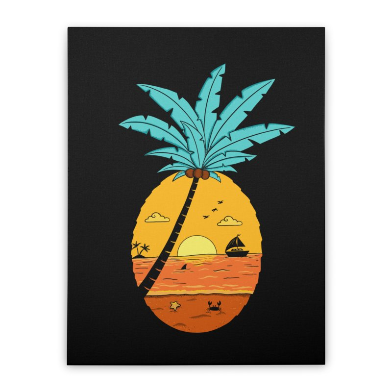 Pineapple summer sunset Home Stretched Canvas by coffeeman's Artist Shop