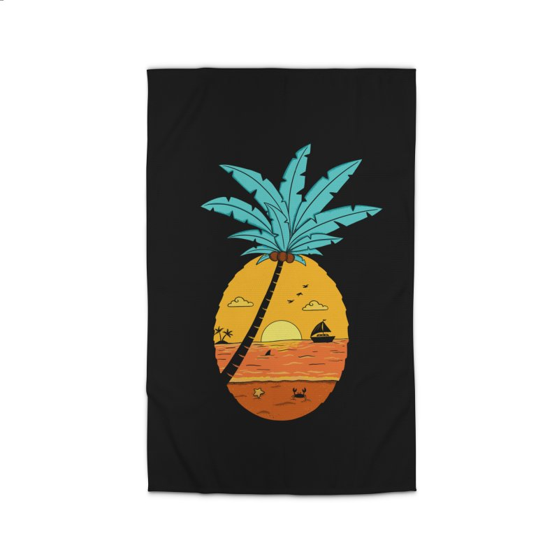 Pineapple summer sunset Home Rug by coffeeman's Artist Shop