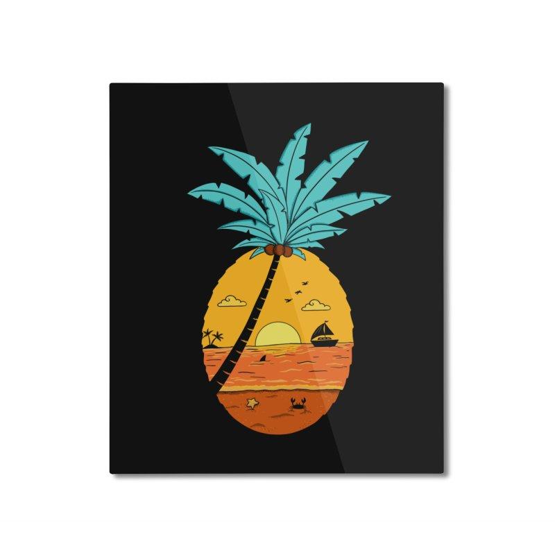 Pineapple summer sunset Home Mounted Aluminum Print by coffeeman's Artist Shop