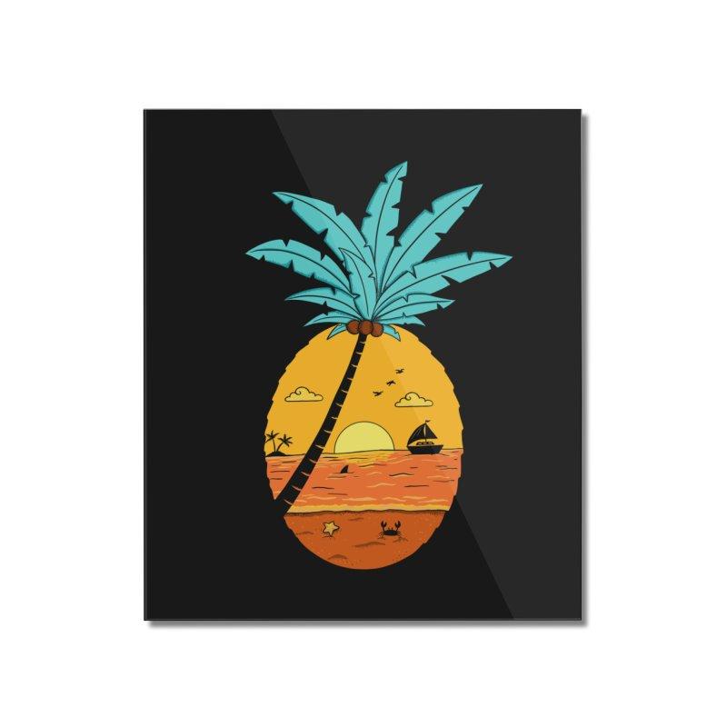 Pineapple summer sunset Home Mounted Acrylic Print by coffeeman's Artist Shop