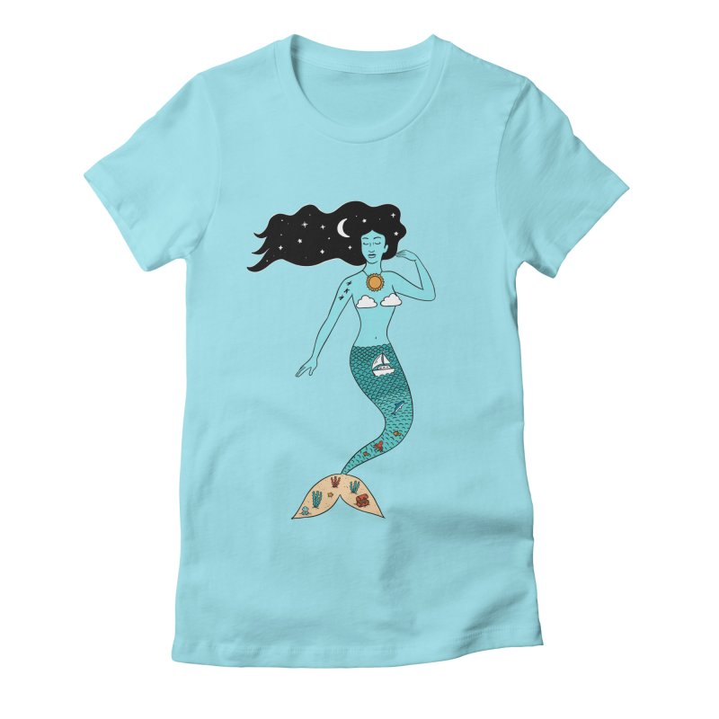 Mermaid Nature Women's Fitted T-Shirt by coffeeman's Artist Shop
