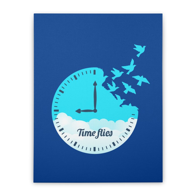 Birds Time Flies Home Stretched Canvas by coffeeman's Artist Shop