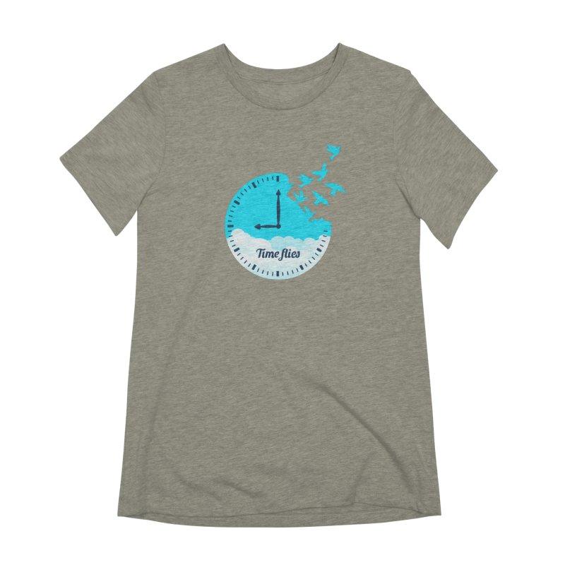 Birds Time Flies Women's Extra Soft T-Shirt by coffeeman's Artist Shop