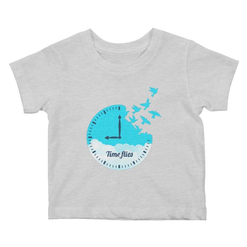 Birds Time Flies Kids Baby T-Shirt by coffeeman's Artist Shop