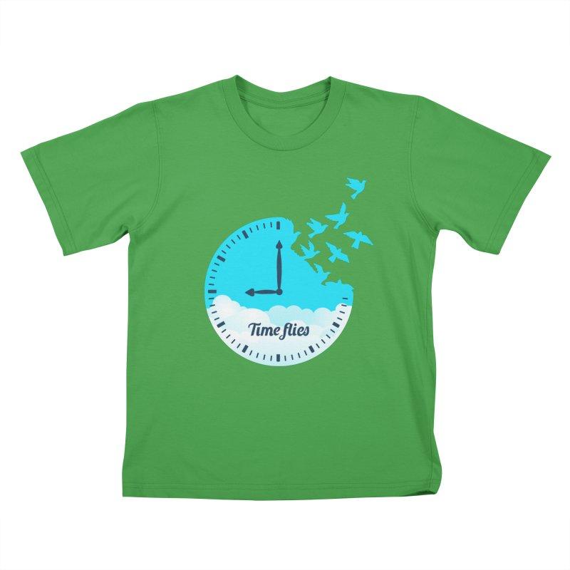 Birds Time Flies Kids T-Shirt by coffeeman's Artist Shop