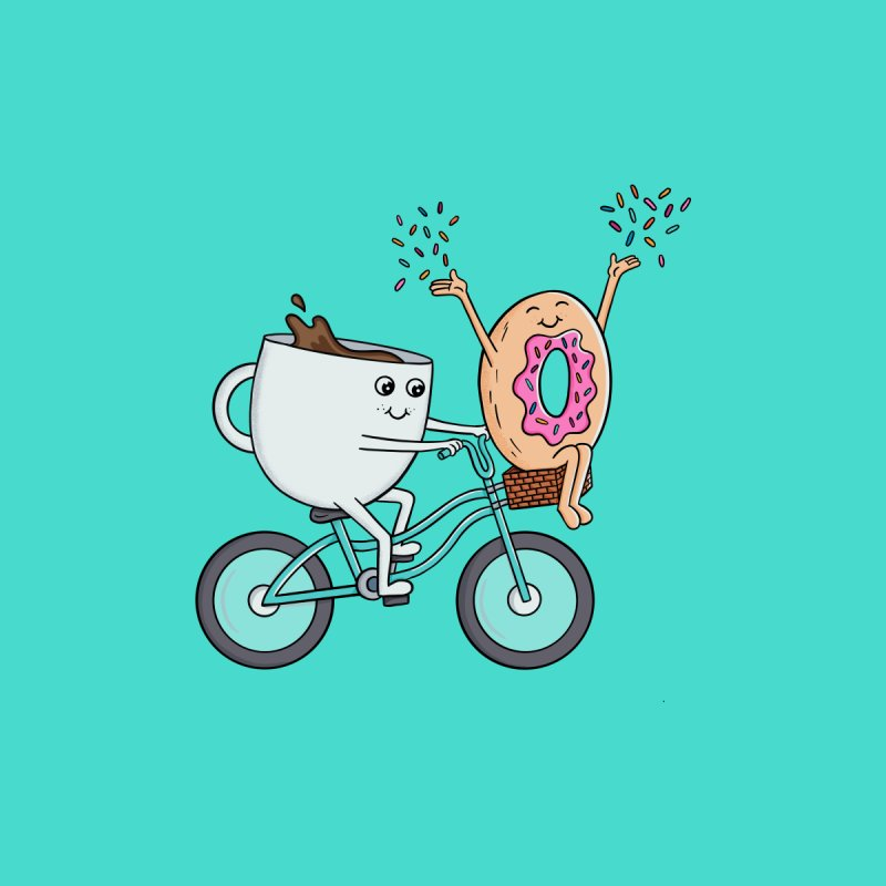 Coffee donut and bike Men's Pullover Hoody by coffeeman's Artist Shop